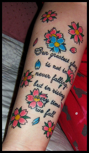 cherry blossom tattoo and quote 3