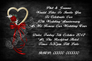 Personalised Black and Red Heart Wedding Vow Renewal Invitations