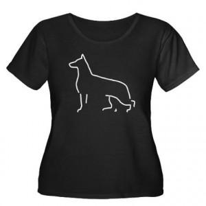 German Shepherd Dog Women's Plus Size V-Neck Blak Plus Size T-Shirt