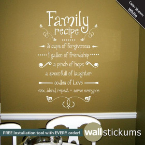 Family Recipe Wall Decal Vinyl Wall Quote by WallStickums on Etsy