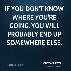 If you don't know where you're going, you will probably end up ...