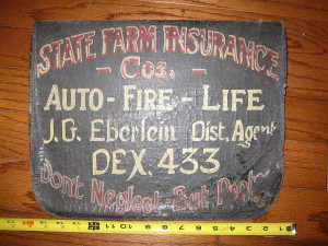 Vintage Painted Insurance Trade Sign - State Farm Advertisement Auto ...