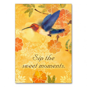 Sweet Moments Inspirational Quote Blue Hummingbird Business Card