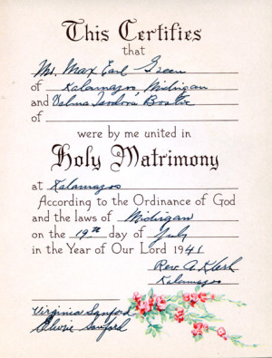 Marriage Certificate for Max Green and Velma Bostic