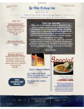 Check out our Specials Click on the Menu button