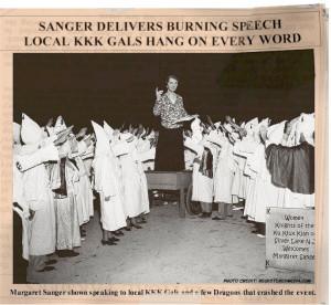 Margaret Sanger la o reuniune a femeilor din Ku Klux Klan