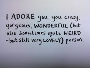 cute, love, quote, word, you