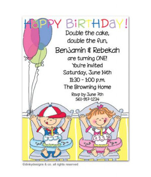 Twins Boy/Girl Birthday Party Invitation, Birthday Party Invitations