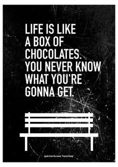 Movie Quote Forrest Gump Typography Art Poster - Life is Like a Box of ...