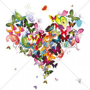 Butterfly Heart, Valentine Illustration. Element For Design