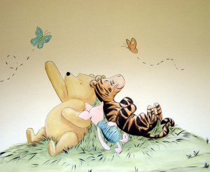 Classic Winnie the Pooh and his famous Tree for a baby's nursery.