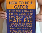 Florida Gators Art Print, Florida Gators Quote Poster Sign, Florida De ...