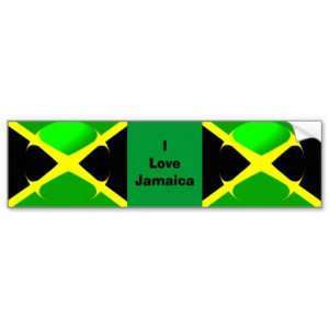 love_jamaica_bumper_sticker_jamaican_flag ...