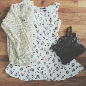 Cute sweater, dress and purse!