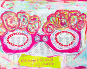 Rose-Colored Glasses-Mixed Media Pr int ...