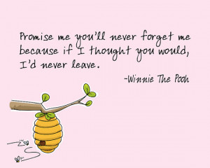 Promise me you'll never forget me -- Winnie the Pooh quote