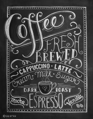 Coffee Love- Coffee Art Print - Chalkboard Art - Kitchen Chalkboard ...