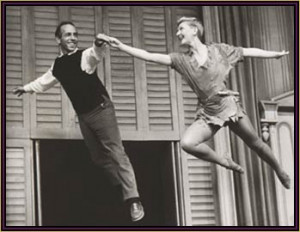 Jerome Robbins and Mary Martin rehearsing the flying sequences for ...