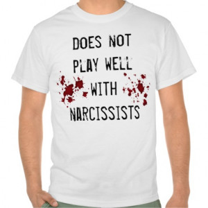 Anti narcissism sentiment with blood splatters t shirts