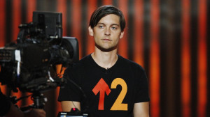 Tobey Maguire supports Stand Up To Cancer, a non-profit campaign.