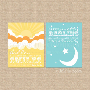 Golden Slumbers, Quote by The Beatles // Set of 2 Nursery / Kids Art ...