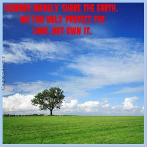 ... the earth we can only protect the land not own it environment quote