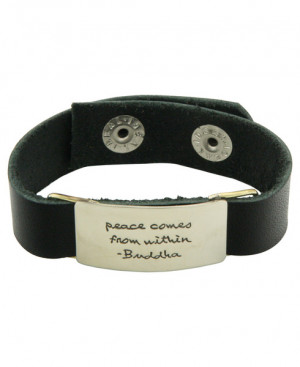leather adjustable snap closure happiness quote and buddha image
