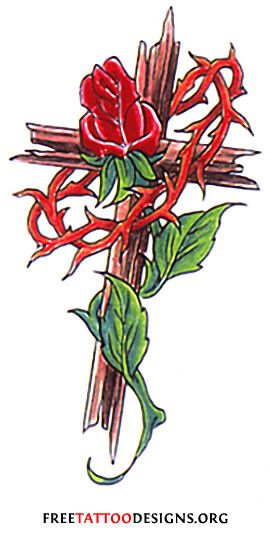 ... thorn tattoos realistic wood graining with a crown of thorns hung