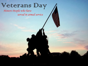 veterans day picture- Soldiers holding the flag