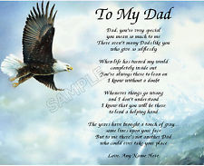 TO MY DAD PERSONALIZED ART POEM MEMORY BIRTHDAY FATHER'S DAY GIFT