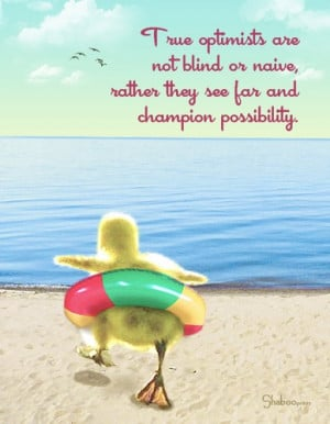 True Optimism: Funny Duckling Inspirational Thinking Of You Card