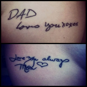 ... young lady acquired these tattoos to remember her late parents