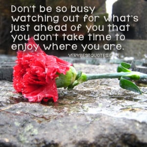 Enjoying life quotes - don't be so busy