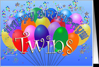 Happy Birthday Twins Cheerful Colorful Party Balloon birthday bunch ...