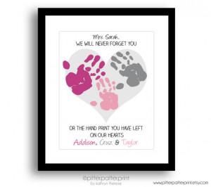 Gift for Nanny, Teacher, Daycare, Babysitter, Hand Print Heart Collage ...