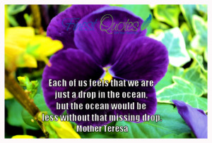 Each of us feels that we are just a drop in the ocean, but the ocean ...