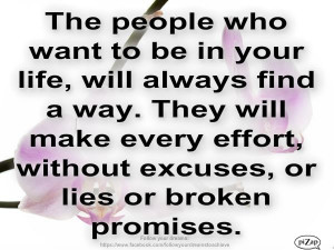 No excuses, no lies, no broken promises.