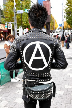 Punk jacket with anarchy symbol