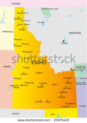hair Idaho ID State Map color map of Idaho state.