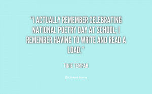 actually remember celebrating National Poetry Day at school; I ...