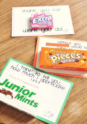 Teacher Appreciation – Sweet Printable Notes with Candy