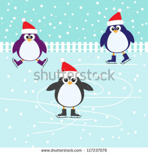 Stock Vector Ice Skating Cute Penguins