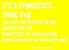 ... gymnastics vs. cheerleading debate (and agree that gymnastics wins