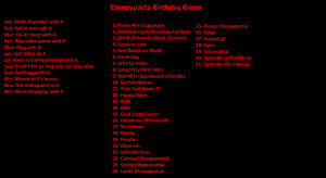 Creepypasta Birthday Game by xtoxicxrosex