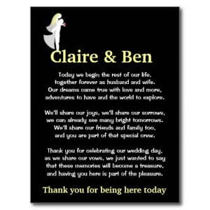 Thank you poem for wedding day guests postcard