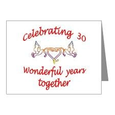 30th Anniversary Lovebirds Note Cards (Pk of 20)