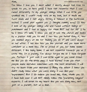 Letter from a Teenage Son Who Was Spanked as a Small Child