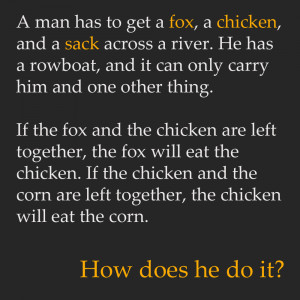 man has to get a fox, a chicken, and a sack across a river. He has a ...