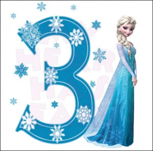 Disney's Frozen Elsa Birthday with number 3 INSTANT DOWNLOAD digital ...