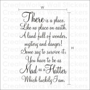 MAD AS A HATTER - Alice in Wonderland Quote Sticker - WA087X